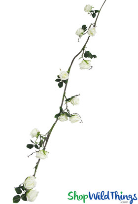 7.5' Artificial Rose Garland, Bend & Shape Cream White Flowering Vine with Large Open Roses by ShopWildThings.com