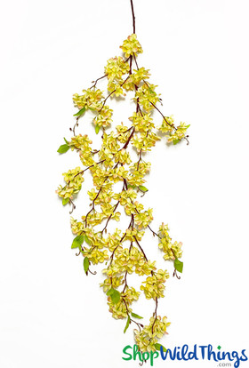 """Yellow Hydrangea Swag on Bendable Vine, 64"""" Long Faux Draping Flower Spray by ShopWildThings.com"""