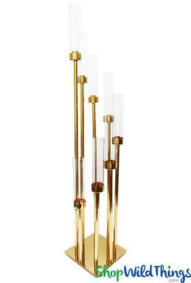 Glass Cylinder Cluster Candelabra, 8 Gold Stem Spiral Candelabra, Pillar, Votive or Taper Candles by ShopWildThings.com