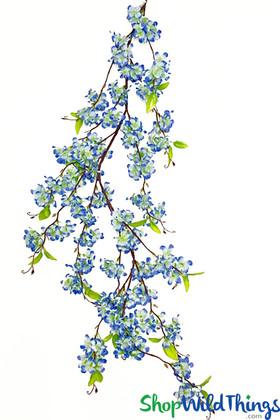 Blue Floral Garland Spray Hydrangea Flower Blossoms on Long Vine ShopWildThings.com