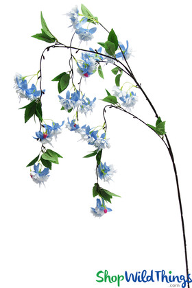 Blue Silk Flowers on a Draping Long Stem for wedding floral design ShopWildThings.com