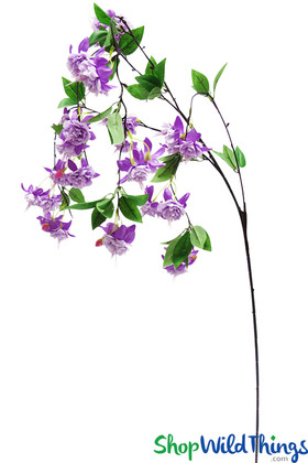 Artificial Floral Spray Hanging Lavender Purple Silk Fuchsia Flowers on Stem Wedding Display ShopWildThings.com