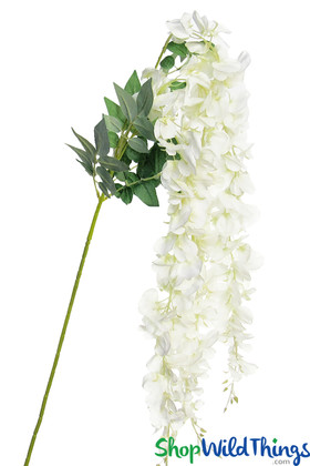 """Draping White Wisteria Silk Flowers Bouquets Extra Long 55"""" Wedding Ceilings ShopWildThings Event Decorations"""
