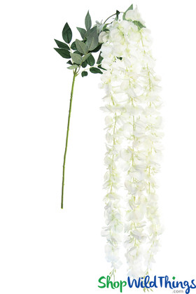 Long Wisteria Garlands in Bouquet Silk White Flowers Draping for Ceilings and Weddings ShopWildThings.com