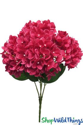 Silk Artificial Hydrangeas Fuchsia Pink Bouquet Extra Full Flowers ShopWildthings.com