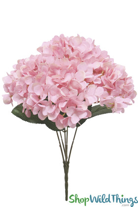 Pink Hydrangea Artificial Silk Bouquets Large Heads Centerpiece Floral Design ShopWildThings.com
