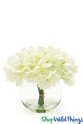 Silk Hydrangea Centerpiece in Glass Bowl   Ready Made Artificial Florals Centerpiece Display ShopWildThings.com