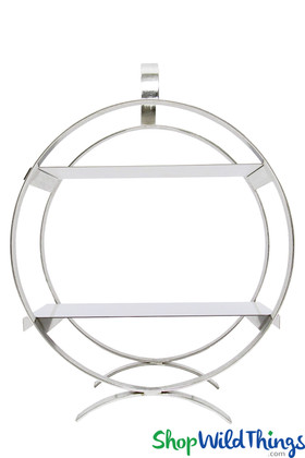 Round Silver Dessert Stand and Centerpiece Riser with 2 Mirror Topped Shelves ShopWildThings.com