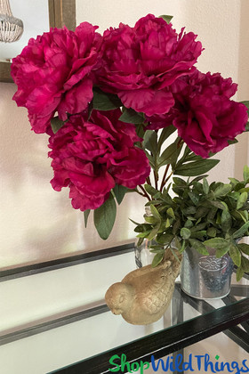 Beauty Pink Peony 5 Head Bouquet ShopWildThings beautiful artificial florals