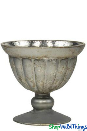Antique Silver Mercury Glass Compote Bowl Floral or Candle Holder ShopWildThings.com