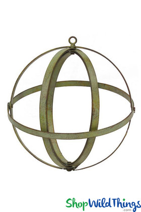 Wrought Iron Folding Ball Sphere Green Patina Look ShopWildThings.com