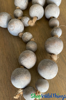 Gray Round Beads on a Strand Beaded Garlands ShopWildThings.com