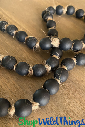 Round Black Chalk Paint Beads on Garland Strand ShopWildThings.com