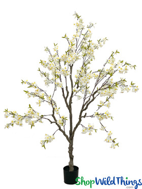 White Cherry Blossom Tree Artificial Blooms Flowering Tree Lifesize ShopWildThings.com