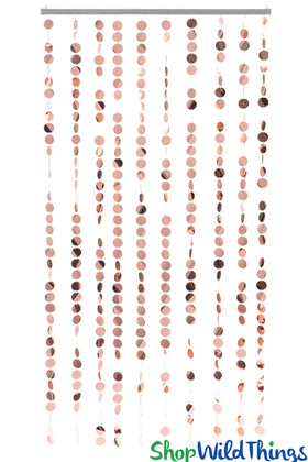 Rose Gold Metallic PVC Beaded Curtains ShopWildThings.com Event Backdrops