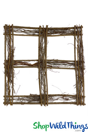 Hanging Floral Frame Made from Natural Wood Twigs Square Flower Chandelier Frame ShopWildThings.com