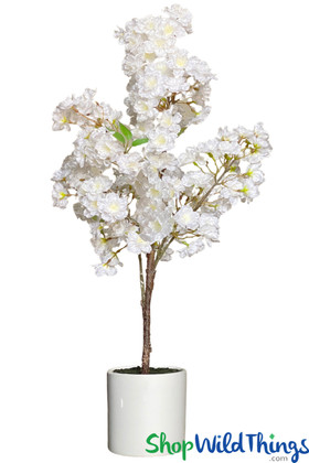White Dogwood Tree in Pot, Artificial Centerpiece Tree for Weddings and Events and Home Decor ShopWildThings Faux Trees