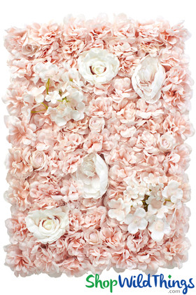 Pink and Cream Roses and Hydrangeas Flower Wall Panels Artificial Silk Backdrops ShopWildThings.com