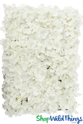White Light Cream Ivory Hydrangeas Flower Panel Artificial Silk Wedding Party Backdrop Walls ShopWildThings.com