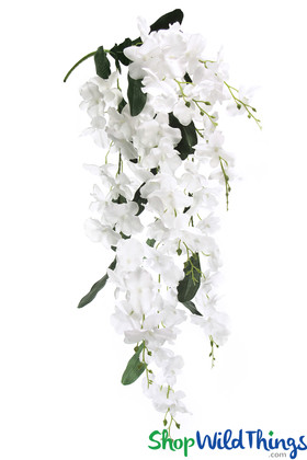 Mahina Orchid Oversized White Spray Dangling Long Flower Decoration for Tables and Ceilings ShopWildThings.com
