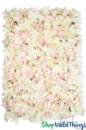 Cream and Blush Pink Mixed Hydrangeas Silk Flower Wall Backdrop Panels ShopWildThings.com