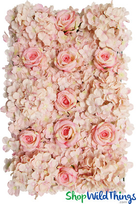 Blush Pink Flower Wall Backdrop Panels ShopWildThings.com Roses and Hydrangeas Soft Pink Photo Walls