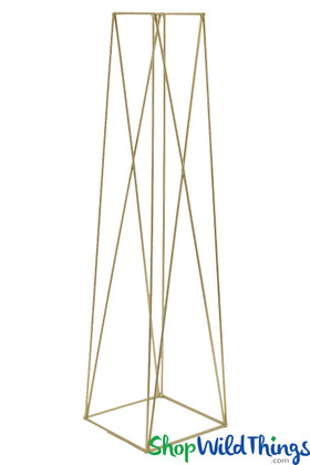 Gold Tall Metal Geometric Floral Stand Frame Centerpiece ShopWildThings