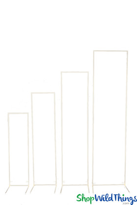 White Floral Balloon Stands metal frames rectangle Shaped, 4 different sizes
