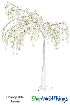 White Metal Tree with Changeable Artificial Flowers ShopWildThings.com
