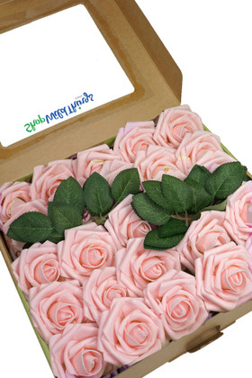 Blush Pink Flowers for Centerpieces, Bouquets, Crafts, Box Set with optional Leaves