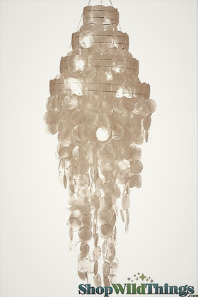 """Real Capiz Shell Chandelier 4 Tier - 27"""" Long by 11"""" Wide"""