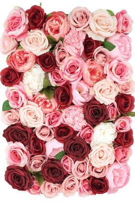 Real Looking Flower Wall Artificial Roses Hydrangeas Ultra High End Premium Rees, Beads, Leaves, Mauve Flowers ShopWildThings.com