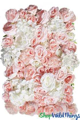 Silk Floral Backdrop Wall High End Pinks and Ivory Roses Peony Hydrangea ShopWildThings.com