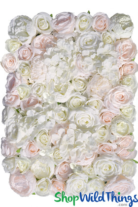 Blush Pink Light Pastel Silk Roses and Assorted Flowers Luxury Flower Wall backdrop panels ShopWildthings.com