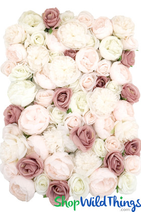 Dusty Rose Mauve Cream Light Pastel Roses Peony Flower Wall Ultra Luxury High Quality Floral Backdrops ShopWildThings.com