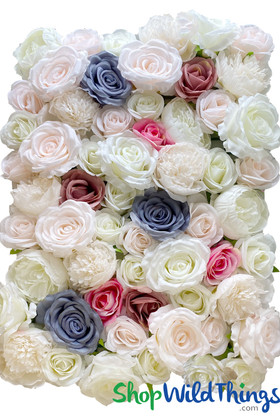Premium Quality Rose and Peony Flower Wall Backdrop with Pastel Blue, Mauve Roses ShopWildThings.com