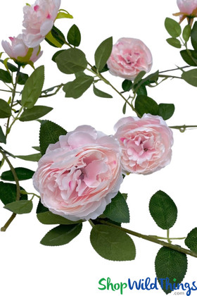 Pink Peony Silk Flowers Garland with Leaves and Vines for Weddings and Event Decorations