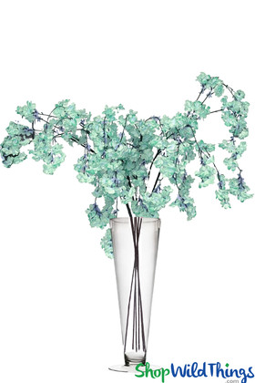 """Cherry Blossom Branches Mint Blue Green Silk Flowers on Long Stems for Event Floral Designs 52"""" Long ShopWildThings.com"""