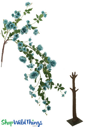 Blue Roses Aqua Flowering Large Draping Bloom Replacement Interchangeable Branches for ShopWIldThings Floral Trees
