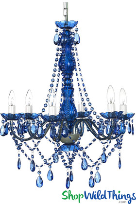 Blue Fancy Beaded Crystals Chandelier Plug In ShopWildThings Cobalt Blue Home and Event Lighting