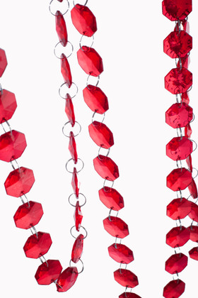 """Bianca"" 29 Foot Long Faceted Large Red Octagon Acrylic Bead Strands"