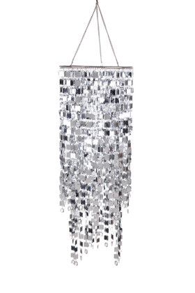 """Chandelier """"Kalina"""" 19.5"""" x 9"""" - Clear Crystals & Silver Squares!"""