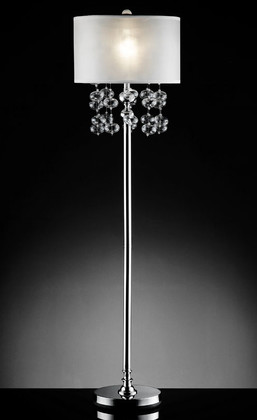 """Loft"" Glass & Silver Floor Lamp - 17""Lx17Wx62""H"