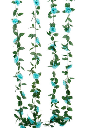 Artificial Aqua Blue Roses and Leaves Garland | 8Ft Long  Wedding and Event Decoration | ShopWildThings.com