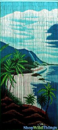 "Bamboo Painted Beaded Curtain ""Makaha"" - 90 Strands"