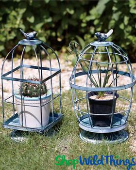 """Tweetie Birds"" Birdcages for Centerpieces - Set of 2 Asst - Green Antiqued Metal 11.5"" Tall"