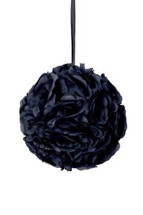 """Flower Ball - Silk Rose - Pomander Kissing Ball 8.5"""" - Black"""