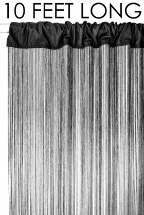 Black String Curtain Fringe Panel for Doors and Windows, 10' Long Rod Pocket Curtain Backdrop by ShopWildThings.com