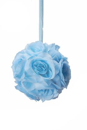 """Flower Ball - Silk Rose - Pomander Kissing Ball 6"""" - Blue"""