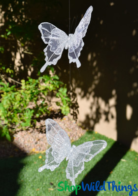 Hanging Sheer White Butterfly Garland Strands ShopWildThings.com